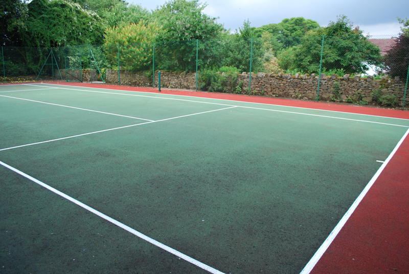 A clean relined tennis court